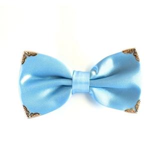 Голубая галстук-бабочка с металлическими уголками