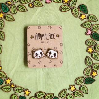 Деревянные сережки панды