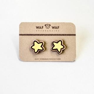 Деревянные сережки #003 (звезды)