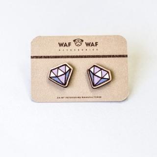 Деревянные сережки бриллиант