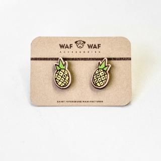 Деревянные сережки #011 (ананасики)