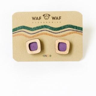 Деревянные сережки #016 (квадратики фиолетовые)