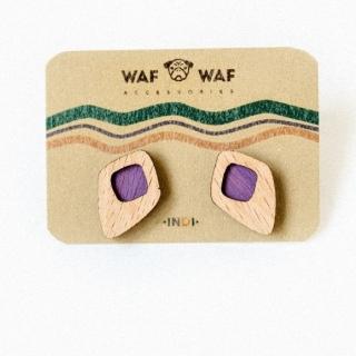 Деревянные сережки ромбики фиолетовые