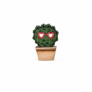 Деревянный значок кактус