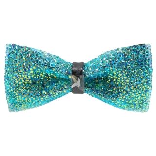 Купить голубую галстук-бабочку со стразами