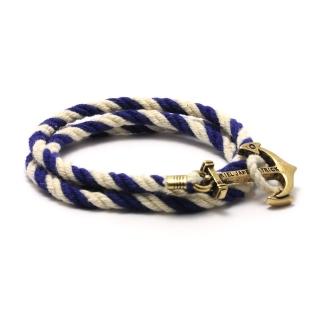 Купить браслет с якорем синие полосы