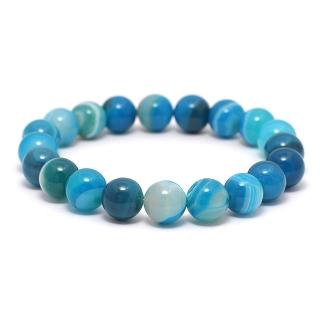 Браслет из камней #045 (агат голубой)