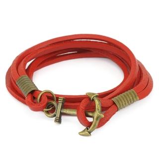 Кожаный браслет #055 (красный)