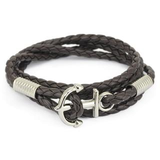 Купить легендарный плетеный браслет с якорем черного цвета.