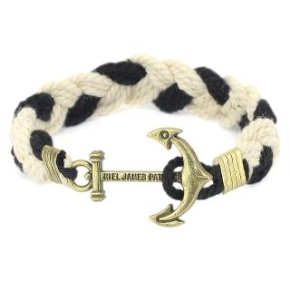 Купить легендарный плетеный браслет с якорем черно-белого цвета.
