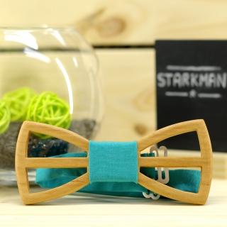 Купить деревянный галстук-бабочку бирюзовый