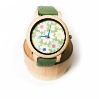 Деревянные часы #023 Green