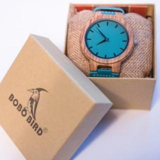 Деревянные часы #026 Blue