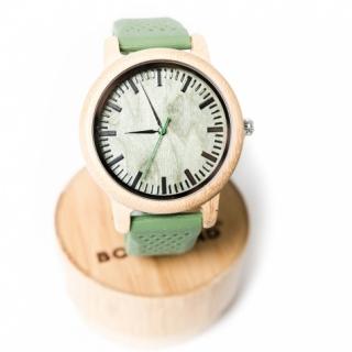 Деревянные часы #028 Green