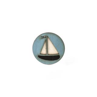 Деревянный значок #008 (Кораблик)