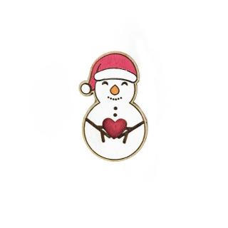 Деревянный значок снеговик