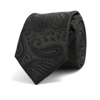 Узкий черный галстук с текстурой