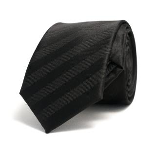 Узкий черный галстук с полосками