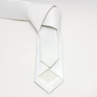 Купить однотонный мужской белый галстук