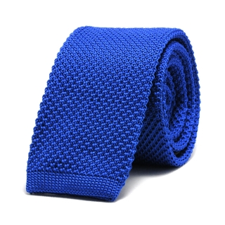 Купить вязаный синий мужской галстук