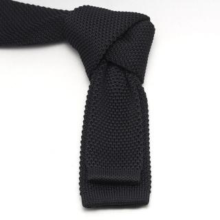 Черный вязаный галстук для мужчин