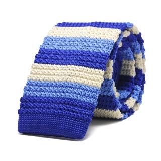 Купить голубой полосатый вязаный галстук