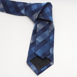 Узкий галстук в клетку темно-синих тонов