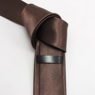 Однотонный коричневый узкий галстук