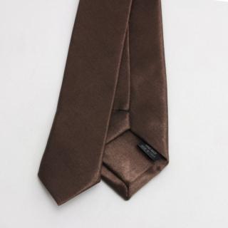 Атласный коричневый узкий галстук