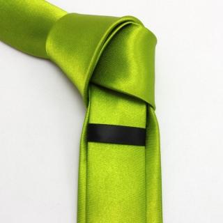 Ярко-зеленый узкий галстук атласный