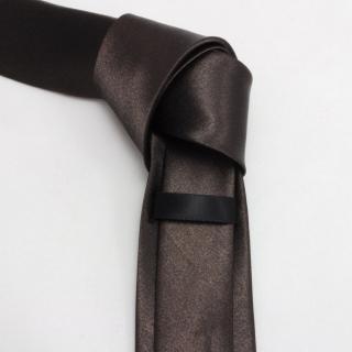 Темно коричневый мужской галстук атласный