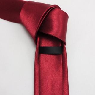 Узкий галстук бордовый однотонный