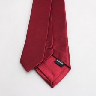 Однотонный бордовый узкий мужской галстук
