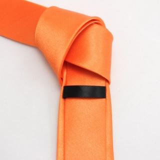 Узкий оранжевый галстук мужской