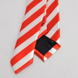 Узкий галстук в полоску красный с белым