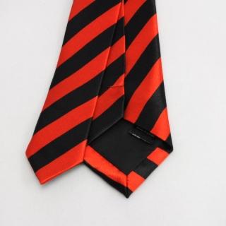Полосатый узкий галстук черный с красным