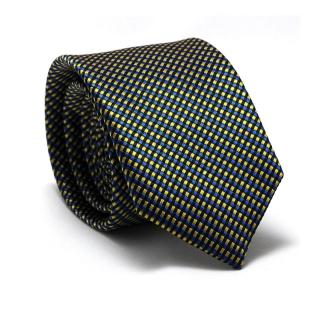 Узкий галстук в желто-синюю клетку