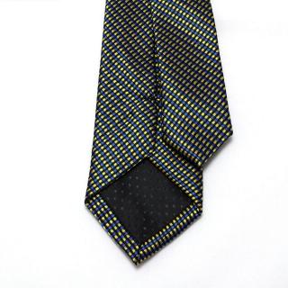 Клетчатый желто-синий галстук