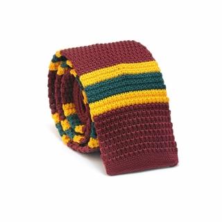 Узкий галстук #068 (вязаный полосатый)