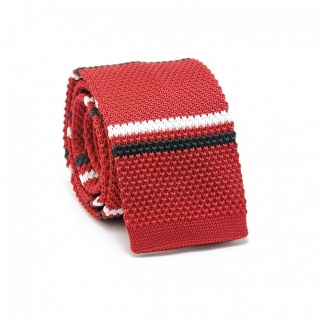 Узкий галстук #069 (вязаный бордовый)