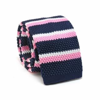 Узкий галстук #070 (вязаный полосатый)