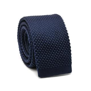 Узкий галстук #071 (вязаный темно-синий)