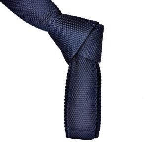 Темно-синий вязаный мужской галстук