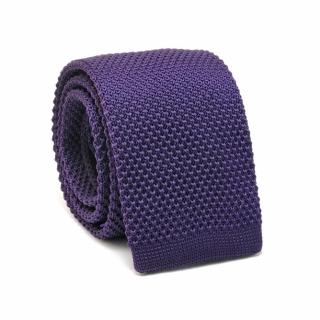 Узкий галстук #072 (вязаный фиолетовый)