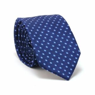Узкий галстук #079 (синий с точками)