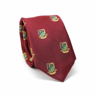 Узкий галстук #082 (бордовый с гербом)