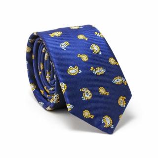 Узкий галстук #083 (синий с огурцами)