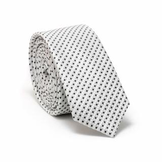 Узкий галстук #090 (белый блестящий)
