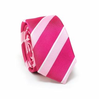 Узкий галстук #091 (розовый полосатый)