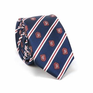 Узкий галстук #094 (синий с гербом)